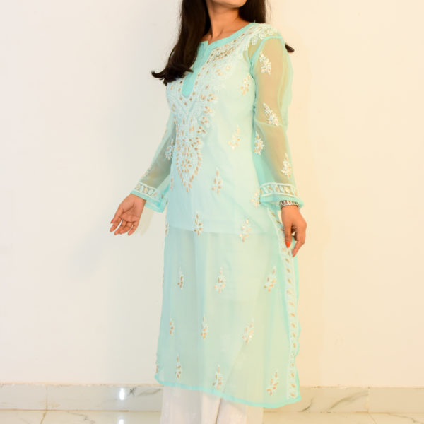 Buy Hand Embroidered Lucknowi Chikan Light Blue Georgette Aari Design Kurti